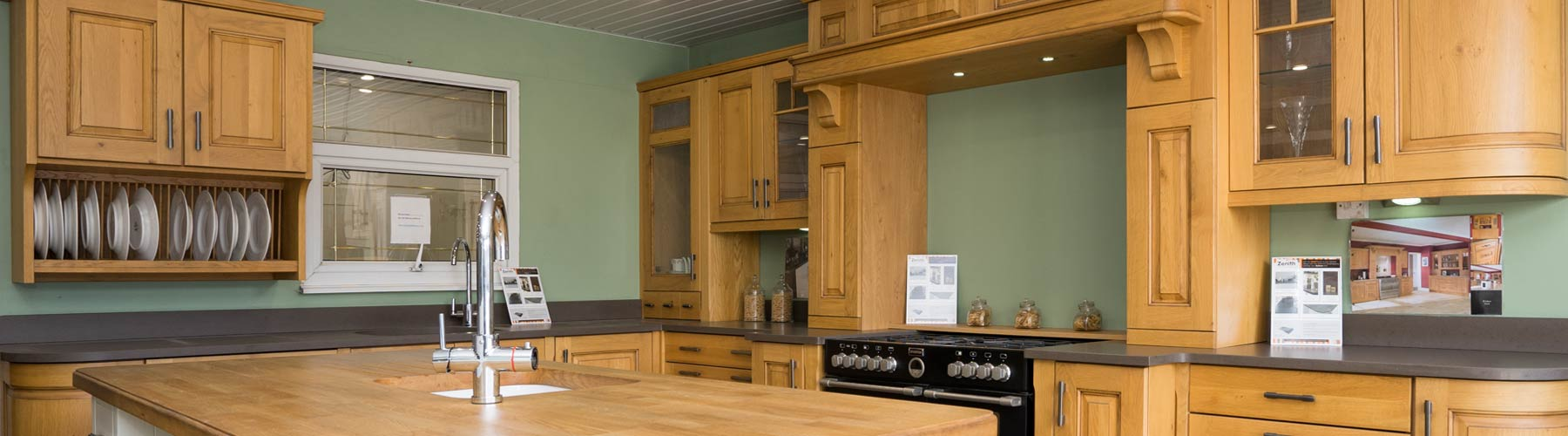 Timber kitchen on display in our showroom on the Kirkby industrial estate.e