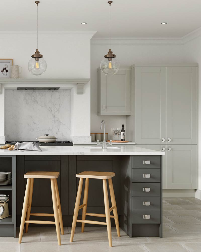 Classic Kitchens Liverpool, featuring a simple yet stylish kitchen with shaker cupboards, unique hardware and a central island.
