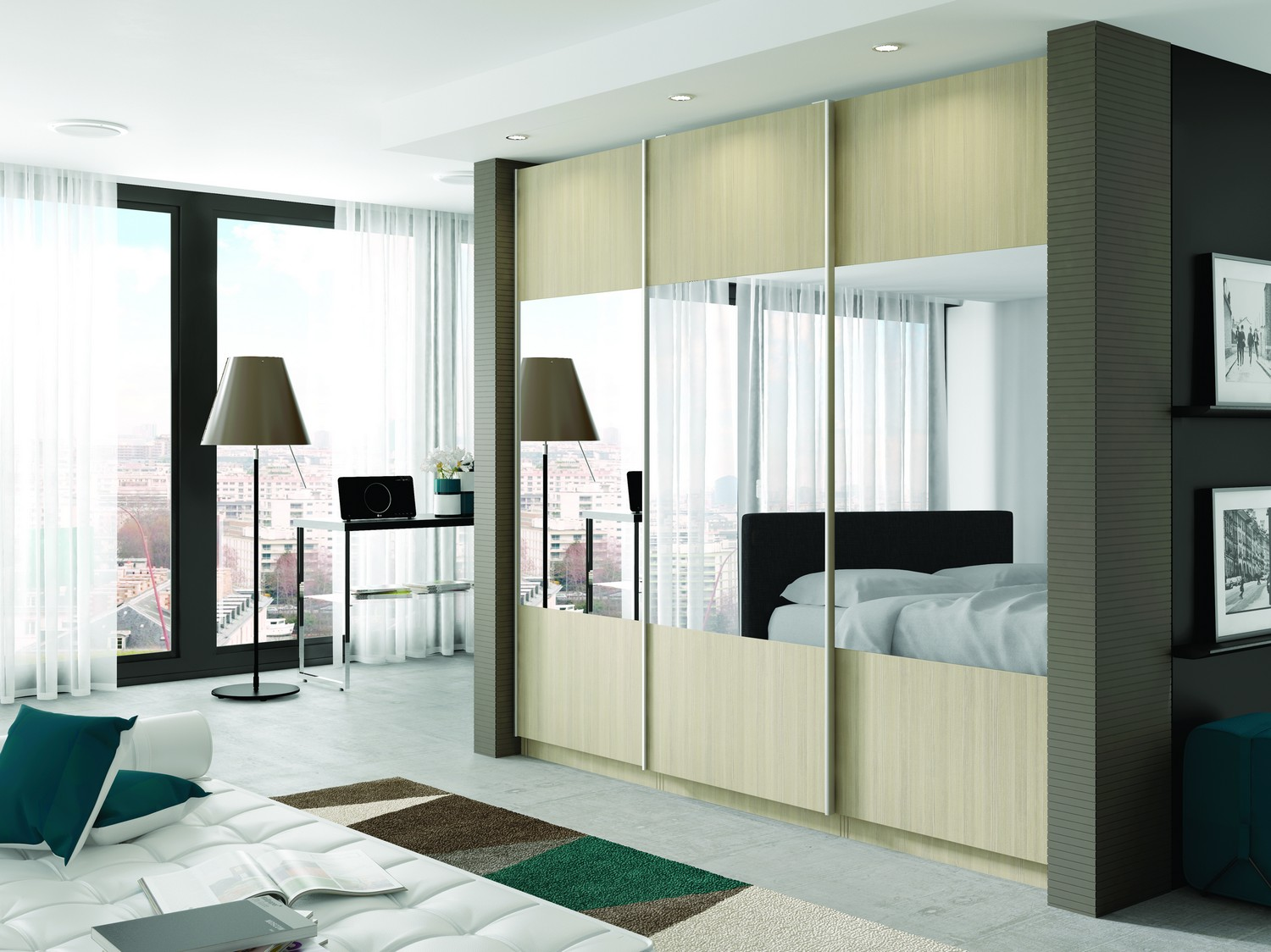 Beech woodgrain sliding wardrobe design with mirrored sections designed for a client's bedroom in Liverpool city centre. The sliding wardrobe features our effortless glide system and has been manufactured to fit within a pre-existing alcove.