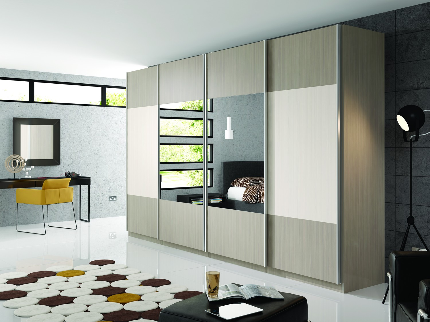 Large freestanding sliding door system with dual style doors including dual mirrored doors. This wardrobe system was designed for a new build property in Ormskirk.