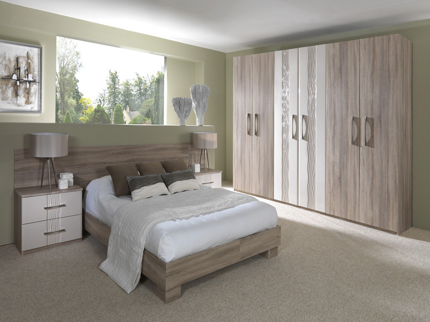 Oak and gloss cream bedroom furniture designed as a complete bedroom furniture solution including bed, headboard, wardrobe and bed sides tables. The gloss cream doors feature an inset pattern combined with a simple chrome handle for a contemporary look.