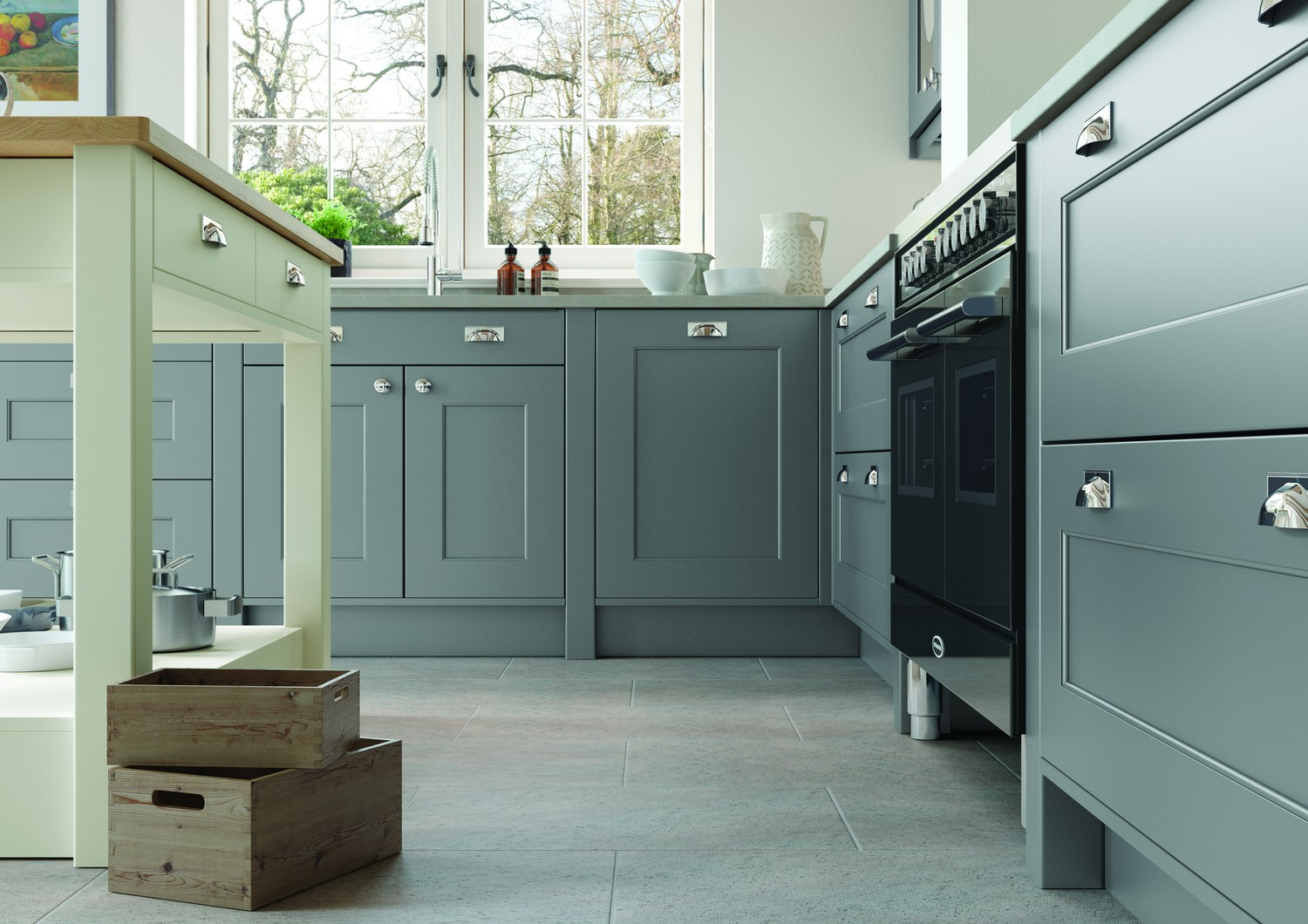 Stone Grey shaker kitchen design with chrome door knobs and drawer pulls.