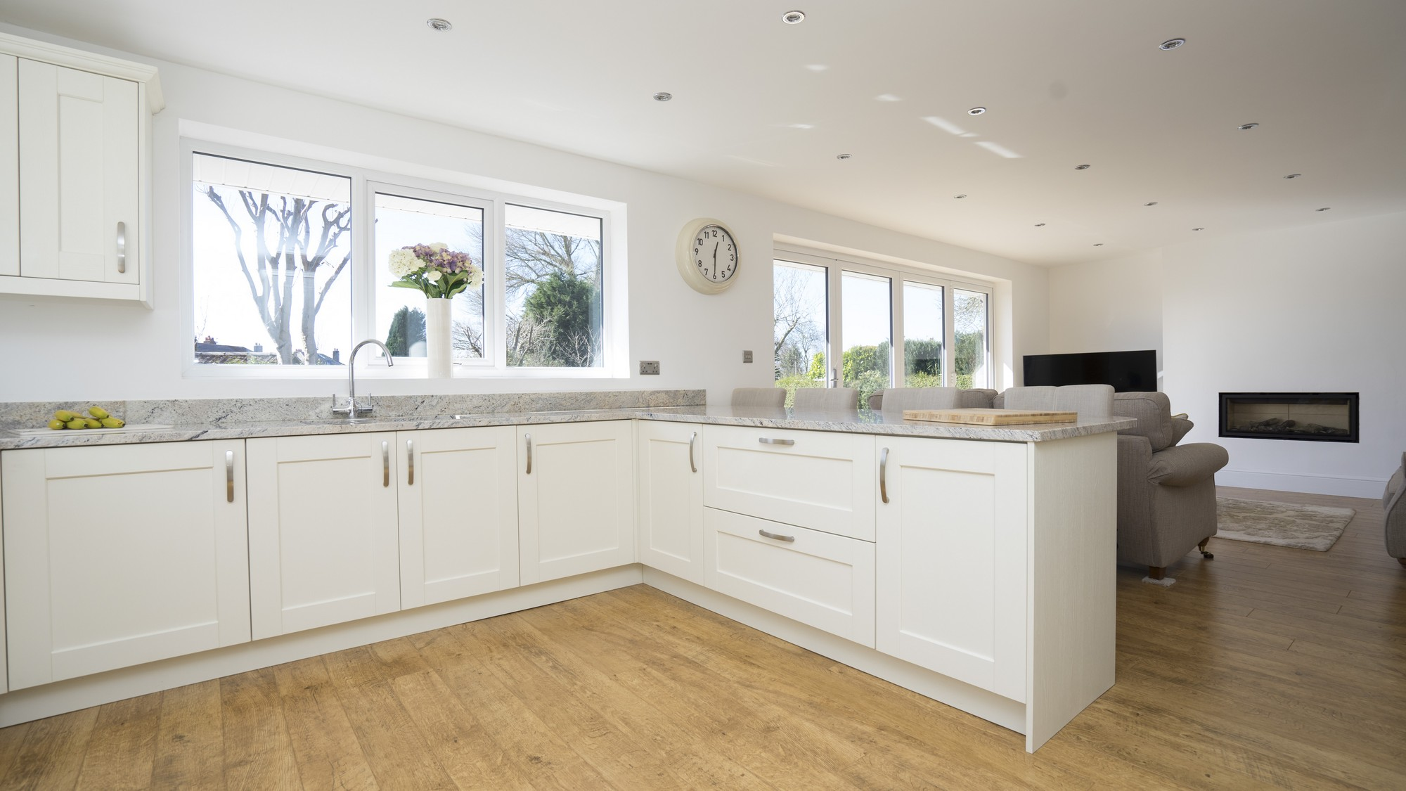 Internal shot of the kitchen units in Ivory with matching plinths, kick-boards and end panels.