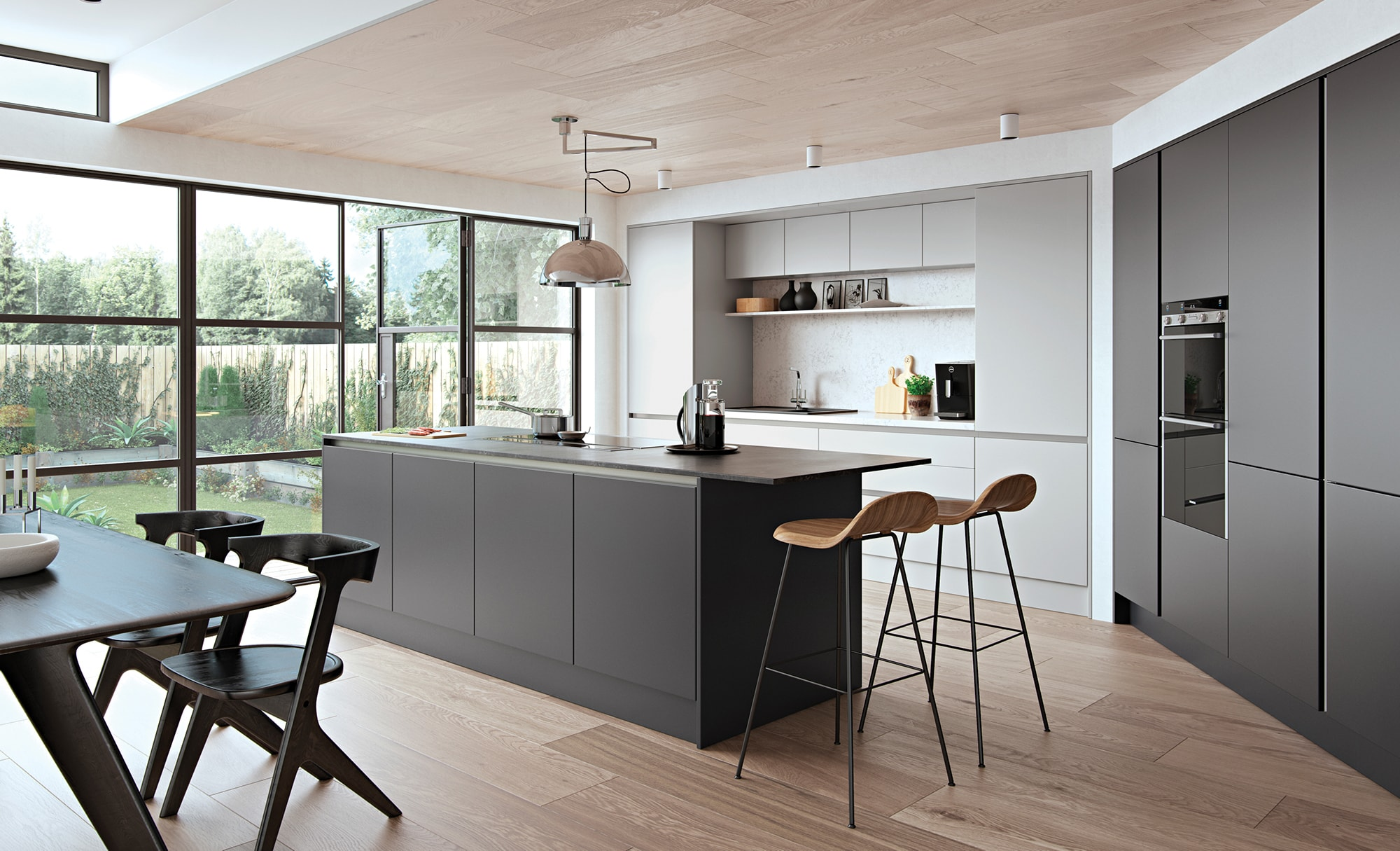 Zola Handleless Light Grey & Graphite, Zola matte is an 18mm MDF slab door finished in super matte PET lacquered laminate.