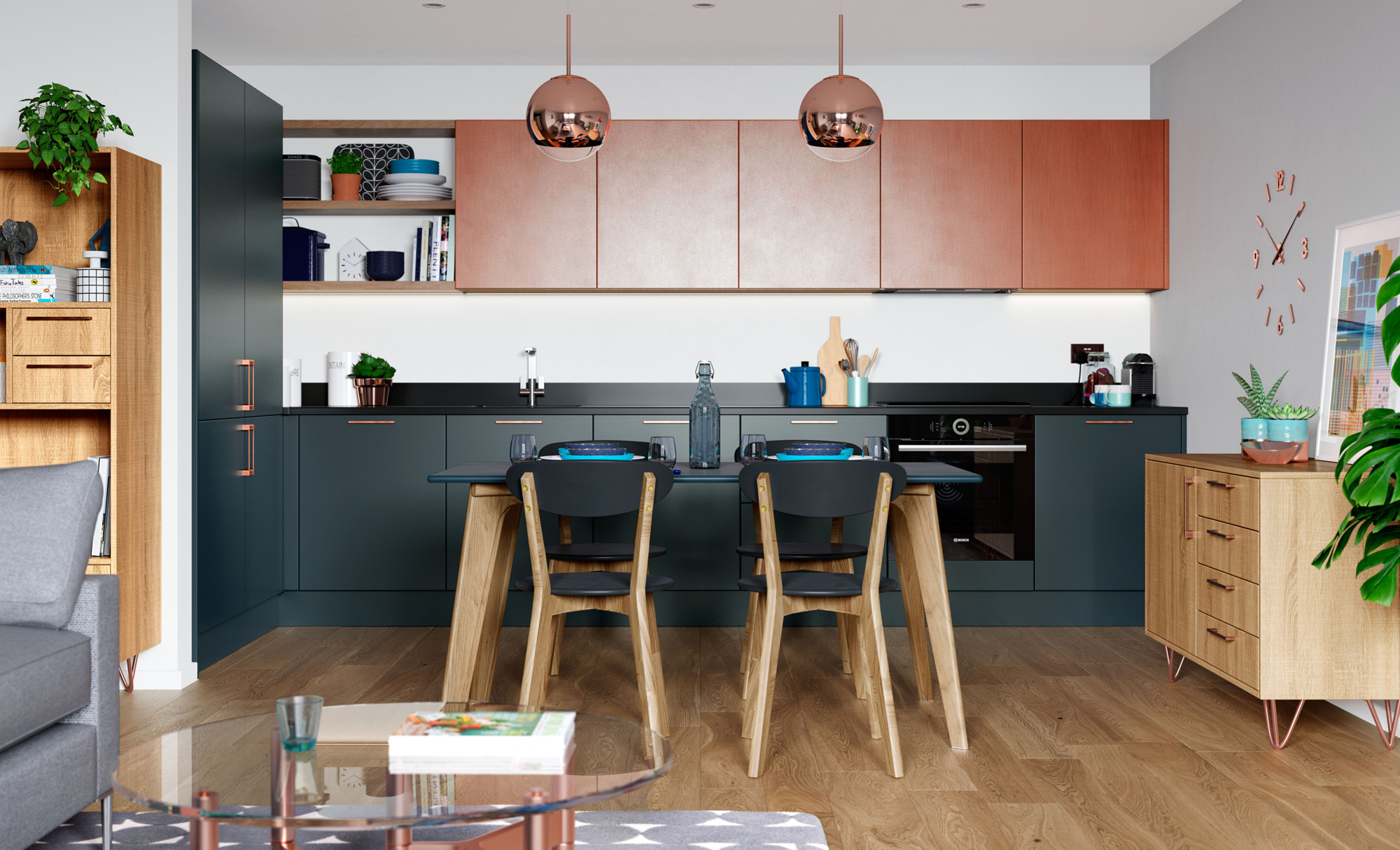 Zola Matte Marine, Ferro Painted Copper & Rezana Stained Light Oak , Zola Matte is a slab door which features an overpainted 18mm MDF core and a 15% sheen level.