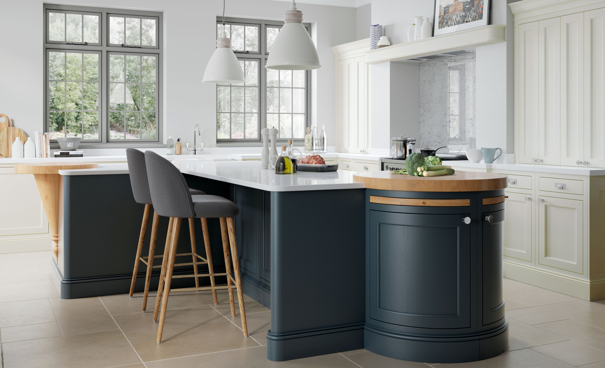 Belgravia Midnight Blue & Porcelain, Belgravia Inframe Painted consists of a 20mm overpainted, solid ash frame with flat, veneered ash centre panel and internal moulding. Grain visible. Midnight Blue using our colour matching service.