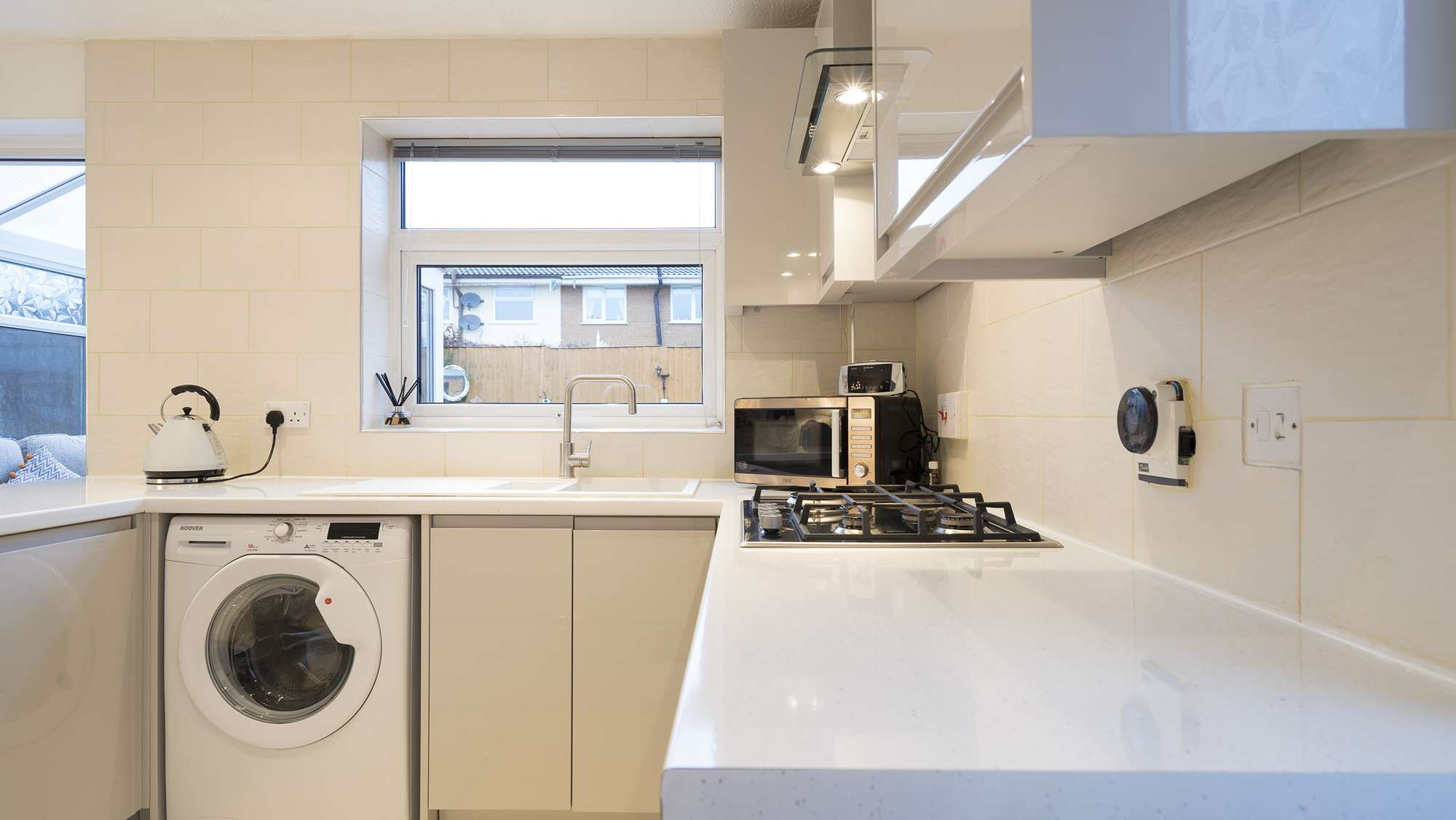 Close up of the white kitchen worktops Liverpool.