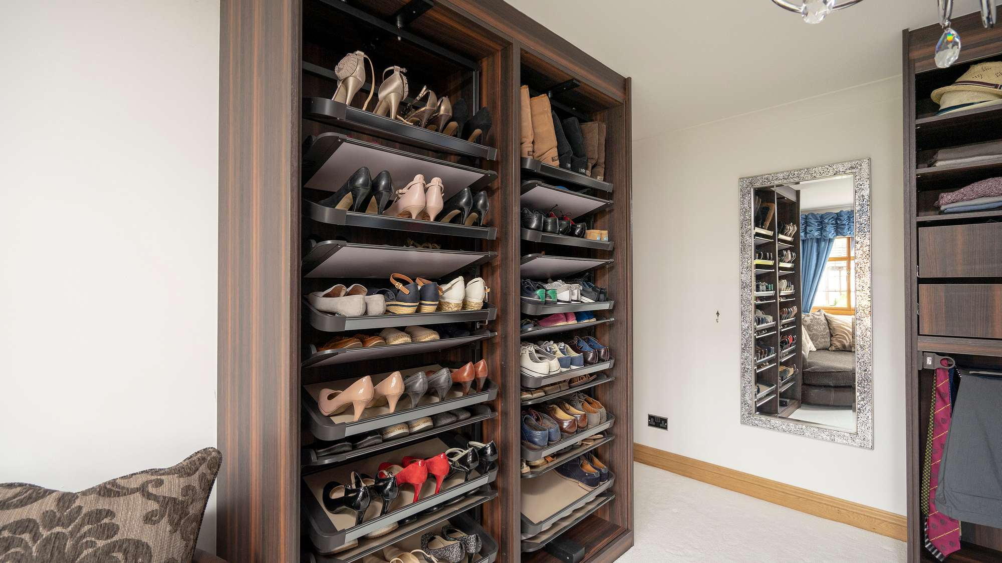 Close up of the rotating shoe racks.